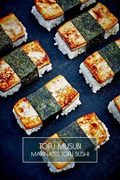"""Tofu Musubi - Marinated Tofu Sushi from Vegan Tofu Recipes - Tofu Recipes To Try In Vegan? Wondering what to do with that tofu you bought? You gotta """"check"""" out this list of vegan tofu recipes! Tofu Recipes, Whole Food Recipes, Cooking Recipes, Healthy Recipes, Vegetarian Recipes, Cooking Tips, Recipies, Tofu Sushi, Sushi Food"""