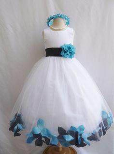 White black turquoise blue rose petals flower girl dress choose size 2 4 6 8 #Dress