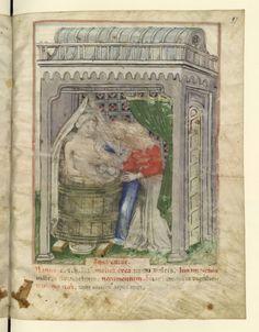 Bathing from the Tacuinum Sanitatis (BNF Nouvelle acquisition latine 1673, fol. 97), c. 1390-1400