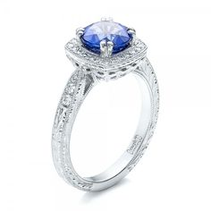 Sapphire and Diamond Halo Engagement Ring