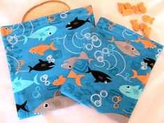 Sharks in the Ocean Reusable Snack and by Threadbarestitcher, $6.25