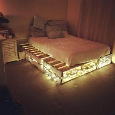 Easy To Make And Design Beautiful Pallet Beds Ideas with hidden lights