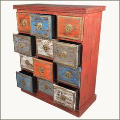 Distressed Wood Furniture   ... Distressed Pillbox Dresser Vanity Chest Table Reclaimed Wood Furniture