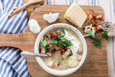 This healthy potato soup has less carbs and potatoes than most, but is just as delicious. Include toppings like diced avocados for more healthy nutrients. Healthy Potato Soup, Homemade Potato Soup, Homemade Bone Broth, Healthy Potatoes, Real Food Recipes, Soup Recipes, Healthy Recipes, Roast Pumpkin Soup, Fermented Sauerkraut