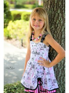 Poppy Goes to Paris Sundress Summer Dress AllegroFabrics Sewing Kit Sizes 6-12 months-8 years