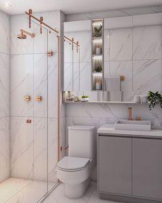 Banheiros pequenos: 85 ideias para otimizar o espaço ao máximo Home Room Design, Home Design Decor, Tiny House Bathroom, Small Bathroom, Bathroom Design Luxury, Teen Room Decor, Bathroom Renovations, Bathroom Inspiration, Decoration