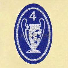 UEFA Champions League 4 Times Trophy (light blue) Sleeve Soccer Patch / Badge | 3D Timix Soccer Patch