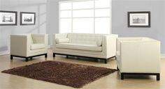 Zoe Cream Grey Bonded Leather Living Room Set