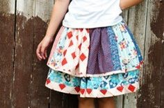 Twirly skirt from quilt scraps