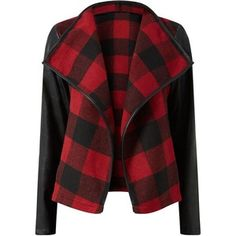 Parisian Red Contrast Sleeve Grid Check Waterfall Jacket
