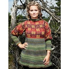 Christel Seyfarth Star Sweater / autumn. Inspired by old Nordic patterns from the Faroe Islands. Feminin design with a slight A-shape and puff sleeves   Knits - European Yarn Import Agency