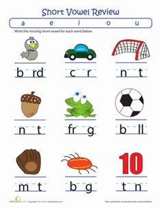 Kindergarten Phonics Letters Worksheets: Fill in the Short Vowel