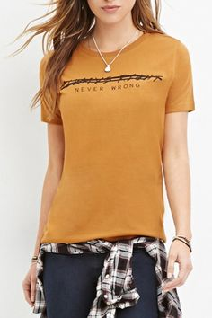 Round Neck Short Sleeve Funny Letter Print Slim Tee