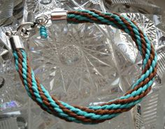 Kumihimo Bracelet  Turquoise & Brown with by goosecrossingfarm, $16.00
