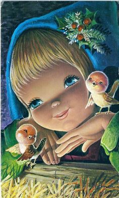 Cute Images, Cute Pictures, Beautiful Pictures, Christmas Bird, Vintage Christmas, Cartoon Pics, Cute Dolls, Big Eyes, Vintage Postcards