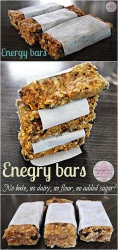 Energy bars - No bake, no dairy, no flour, no added sugar! - Anna Can Do It!