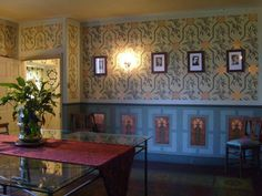 Stenciled arts and crafts dining room