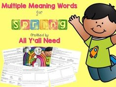 """Multiple Meanings for Spring is great for discussing different meanings for the word """"spring"""". Definitions include the season, a metal coil, a water spring, to leap, to surprise, and to pay for.This is an easy prep unit. Simply print off three pages, glue to a manila folder, and laminate the whole folder!"""
