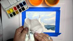 Painting a Lighthouse, How to paint the Ocean or Water using Watercolor:...