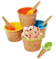 Avon Ice Cream Bowl Set Everyone will love this fun set of colorful bowls and spoons shaped like ice-cream cones. Includes 4 cups and 4 spoons; 1 of each yellow, blue, orange, and green. Hand wash only. Avon Other Ice Cream Bowl, Ice Cream Party, Cream Bowls, Colorful Ice Cream, Safe Food, Bowl Set, Cup And Saucer, Delicious Desserts, Cool Stuff