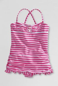 Girls' Skirted Tugless Tank Swimsuit from Lands' End $14.97 #WishPinWin