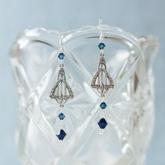 Great Gatsby-inspired Art Deco earrings featuring dark indigo and Montana blue geniune Swarovski crystals