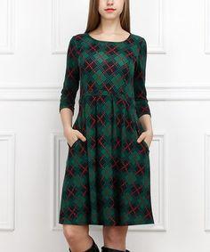 Look at this #zulilyfind! Green & Navy Argyle Three-Quarter Sleeve Dress by  #zulilyfinds