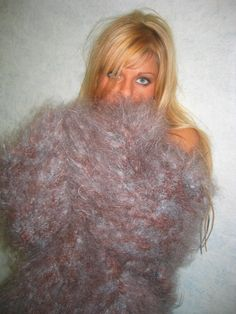 Fluffy Mohair and Huge Boobs — Angelique in fluffy grey mohair sweater