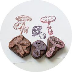 Mushrooms, Hand Carved Rubber Stamp Set