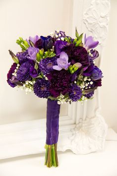 affordable purple wedding flower bouquet, bridal bouquet, wedding flowers, add pic source on comment and we will update it. www.myfloweraffair.com can create this beautiful wedding flower look.