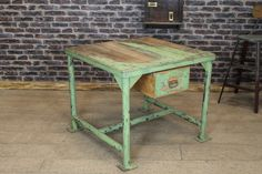 INDUSTRIAL RUSTIC RESTAURANT MEET & GREET TABLE VINTAGE GREEN in Antiques, Antique Furniture, Tables | eBay