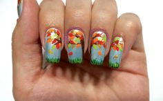 Fall leaves nail art design. Inspired by Robin Moses.