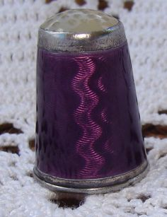 PURPLE GUILLOCHE ENAMEL and HARDSTONE-STERLING SILVER THIMBLE Finger, Thimble, Sewing Tools, Silver Enamel, Pin Cushions, Handicraft, Fat Quarters, Sterling Silver, Antiques