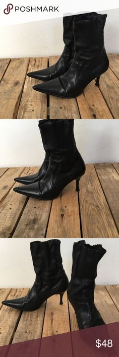 """Pointed Black Leather Mid Calf Sock Ankle Boots Alluminio Made in Italy from yoox.com Size 6 1/2 - designer quality, gorgeous soft black leather, very good condition, slight wear to Heel tips, photographs show better Than possible to describe;) 2"""" Heel **tagged weitzman for exposure Stuart Weitzman Shoes Ankle Boots & Booties"""