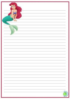 Little mermaid writing paper Printable Lined Paper, Free Printable Stationery, Printable Recipe Cards, Paper Bag Scrapbook, Disney Scrapbook, Disney Writing, Imprimibles Toy Story Gratis, Diy Notebook Cover, Lined Writing Paper