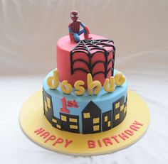 chocolate with dark choc ganache. My first spiderman cake with edible topper. Not quite happy with it. A lot of flaws with the figurine. Will know for next time. Spiderman Cake Topper, Batman Cakes, Spiderman Theme, Superhero Birthday Cake, Novelty Birthday Cakes, 4th Birthday, Birthday Ideas, Superhero Party, Fête Spider Man