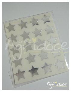 Kit com 5 cartelas de adesivos de estrelas prateadas.