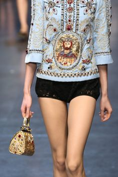 A detail of a model is seen as she walks the runway at the Dolce & Gabbana fashion show as part of Milan Fashion Week Womenswear Fall/Winter 2013/14 on February 24, 2014 in Milan, Italy.