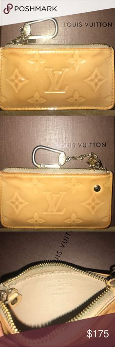 "LOUIS VUITTON Vernis Key Pouch Cream Patent Leath AUTHENTIV monogram LV Louis Vuitton Cream Patent leather key pouch with brass hardware, tonal leather lining, key ring at side & zip closet at date. Made in Spain. Good condition •vintage •classic•used with love• patina color/wear indicative of a true LV product. Zipper and keychain work perfectly. 2.5""(H) x 5.5""(W) x 0.25""(D) Louis Vuitton Accessories Key & Card Holders"