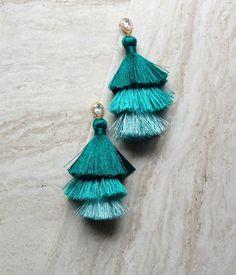 Tiered Tassel Crystal Earrings