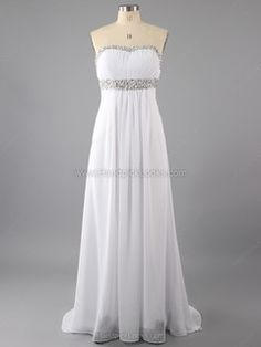 Chiffon Open Back White Prom Dresses