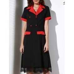 28499bf367a Vintage Turn-Down Collar Color Block Short Sleeve Women s Dress