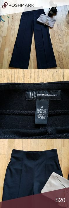 Sexy Wide Leg INC Pants Classy and sexy INC International Concepts wide leg black pants. High waist!! Perfect for many occasions, very good quality, super good conditions!! 60% rayon, 35% nylon, 5% spandex. Waist: 13', length: 41.5'. Smoke free home. INC International Concepts Pants Wide Leg
