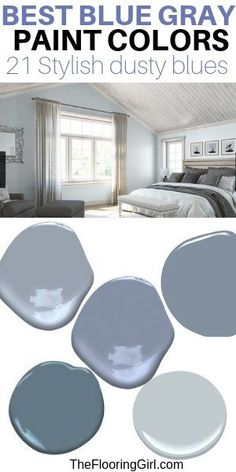 Best Blue Gray Paint Colors (21 stylish dusty blues) | The Flooring Girl Blue Gray Bedroom, Gray Bedroom Walls, Bedroom Colors, Blue Bedrooms, Grey Walls, Bedroom Styles, Teen Bedroom, Style At Home, Style Français