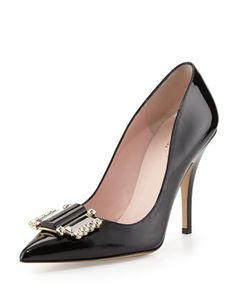 laylee patent ornament pump, black by kate spade new york at Neiman Marcus.