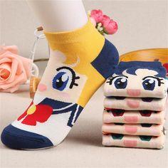 Mujer Chica de Primavera Otoño Moda Lindo Barco calcetines de Algodón Calcetines de Regalo 6 Colores de Dibujos Animados Marinero Luna Nave Femenina de Dibujos Animados Dulce Caliente precioso