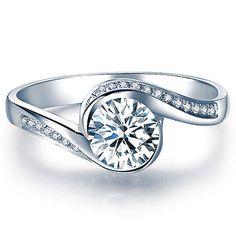 Art Deco Diamond Engagement Ring White Gold 14k Diamond Ring Vintage Style