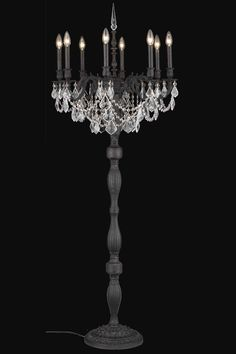 """Elegant Lighting - 9208 Rosalia Collection Floor Lamp w/ (8) Silver Round Shade D26in. The Rosalia Collection is a stunning and decadent example of the design period of the Austro-Hungarian empire. The bold strength of the four brass casting finishes to choose from is a perfect contrast to the luxuriously draped glistening crystal strands surrounded by candelabra lighting.Specifications:  Style Traditional   Collection Rosalia    Chain/Wire Included  10""""    Light Blubs  8    Bulb Type  E12…"""