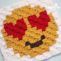 Heart Eyes Emoji C2C Crochet Square and Pixel Graph