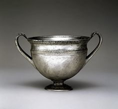Silver skyphos (drinking cup). Period: Late Republican. Date: mid-1st century B.C. Culture: Roman.